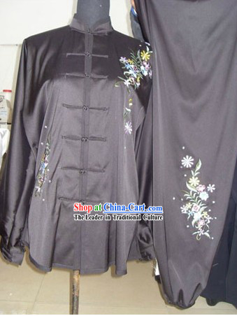 Traditional Chinese Silk Embroidered Flower Suit