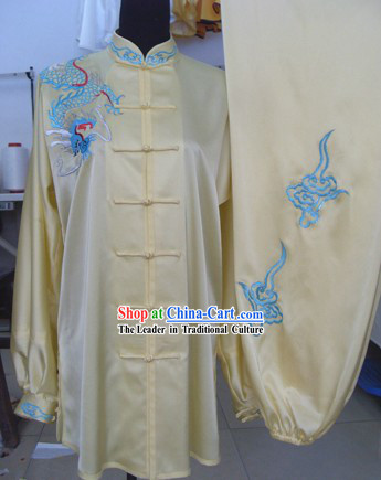 Traditional Chinese Silk Embroidered Dragon Tai Chi Suit