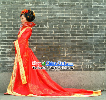 Ancient Chinese Red Bride Wedding Dress and Hair Accessories
