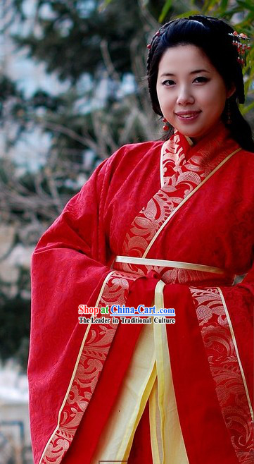 Ancient Chinese Red Wedding Dress Complete Set