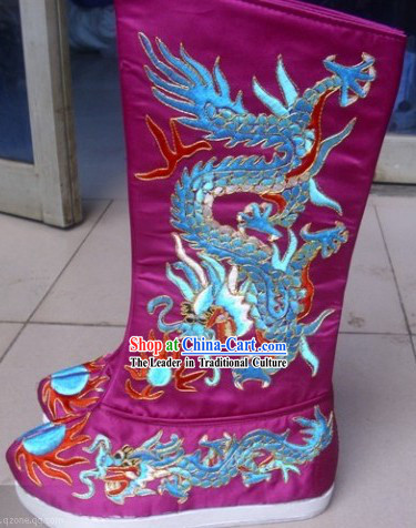 Traditional Chinese Embroidered Dragon Boots