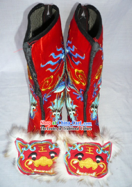 Chinese Hand Made Embroidered Dragon Tiger General Boots
