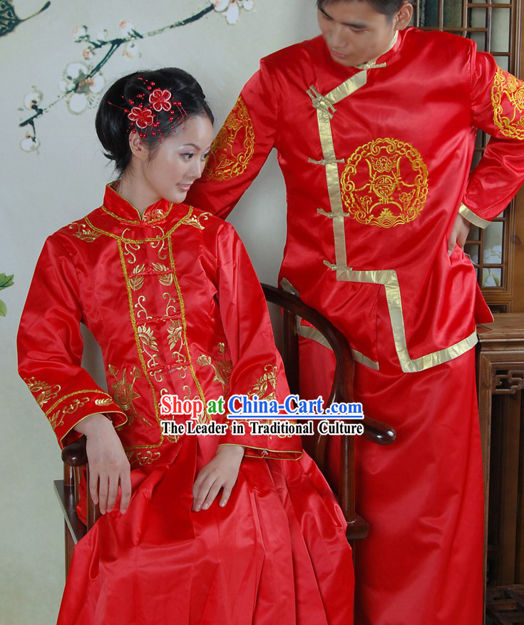 Traditional Chinese Red Wedding Clothes 2 Sets for Men and Women