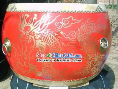 Traditional Chinese Red Dragon Drum