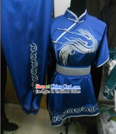 Silk Embroidered Crane Martial Arts Competiiton Uniform