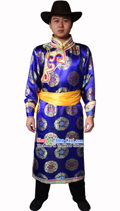 Traditional Mongolian Clothing and Hat for Men