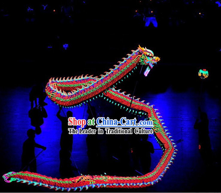 Professional Fluorescent Competition Luminous Dragon Dance Equipment Complete Set