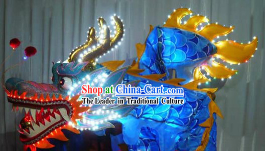 Electric Luminous Blue Dragon Dance Costumes Complete Set