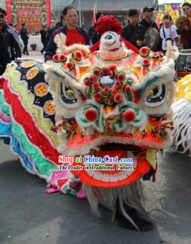Old Style FUT SAN Southern Liu Bei Lion Dance Head and Costume Complete Set