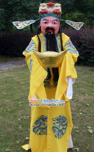 Chinese New Year Performance Cai Shen Costumes and Mask