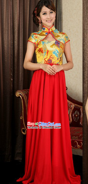 Mandarin Golden Dragon Wedding Dress for Women