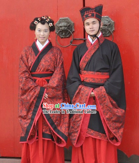 Traditional Chinese Wedding Ceremony Hanfu Dress 2 Sets for Men and Women