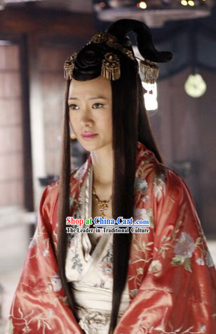 Ancient Chinese Princess Handmade Wig and Headpiece for Women