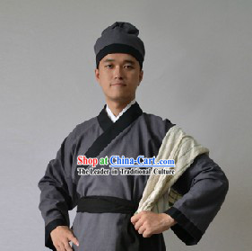 Ancient Chinese Restaurant Waiter Costume and Hat for Men