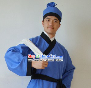 Ancient Chinese Restaurant Waiter Costumes and Hat for Men