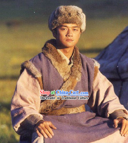 Ancient Chinese Guo Jing Hero Costume and Hat for Men
