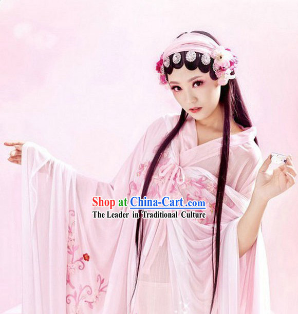Ancient Chinese Sexy Pink Plum Blossom Clothes for Women