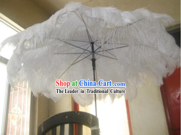 Handmade Pure White Angel Feather Umbrella Dance Performance Prop