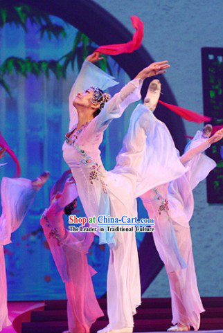 Traditional Chinese Folk Dance Costume and Headpiece for Women