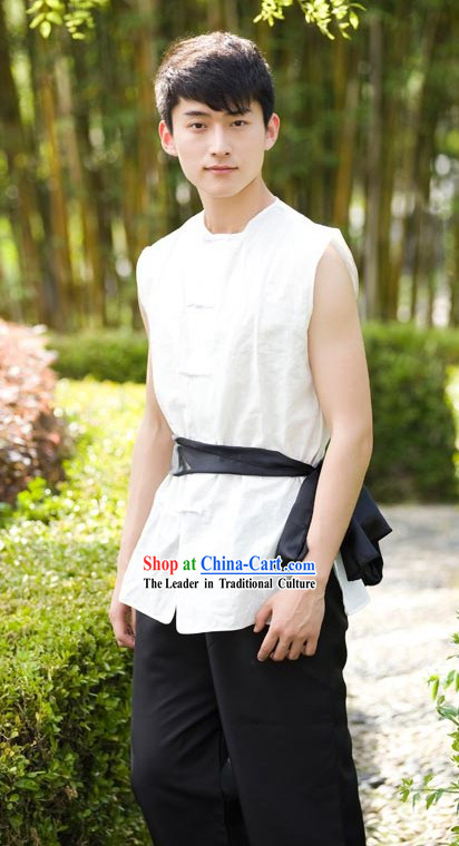 Traditional Chinese Cotton and Flax Sleeveless Kung Fu Uniform for Men