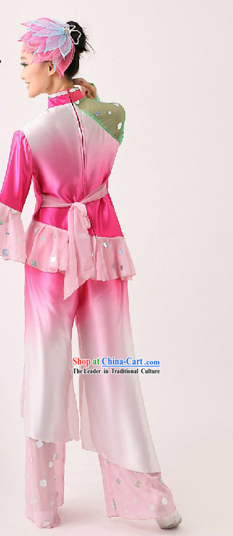 Chinese Classic Folk Yangge Dance Costume and Headpiece for Women