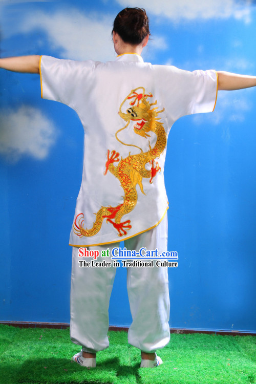 Traditional Chinese Embroidered Dragon Kung Fu Uniform for Women