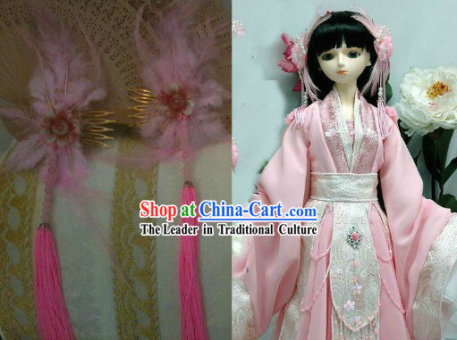 Pink Chinese Princess Feather Hair Accessories