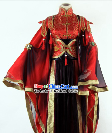 Ancient Chinese Royal Black and Red Costumes for Men