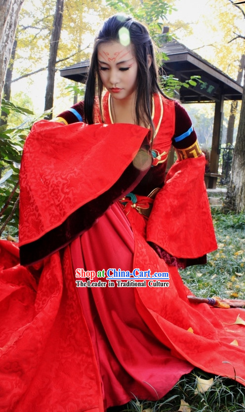 Chinese Classic Red Princess Costume Complete Set for Women