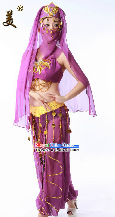 Purple Indian Dance Costume and Headpiece for Women