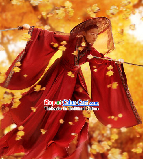 Ancient Chinese Swordsman Film Costumes and Bamboo Hat Complete Set