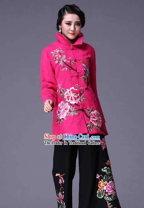 Chinese Classic Embroidered Flower Jacket and Pants for Women