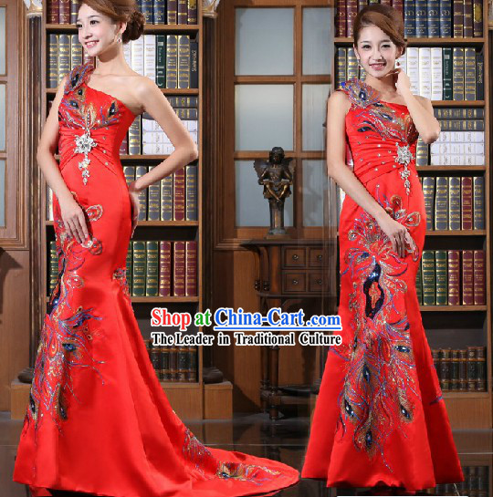 Lucky Red Phoenix Wedding Evening Dress for Brides