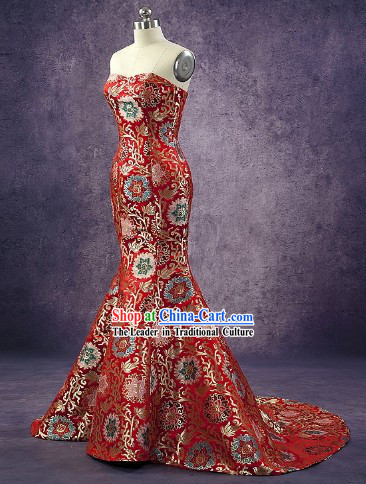 Long Tail Chinese Classic Red Wedding Dress for Women