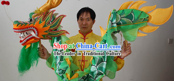 One Person Holding Classic Green Dragon Dance Props
