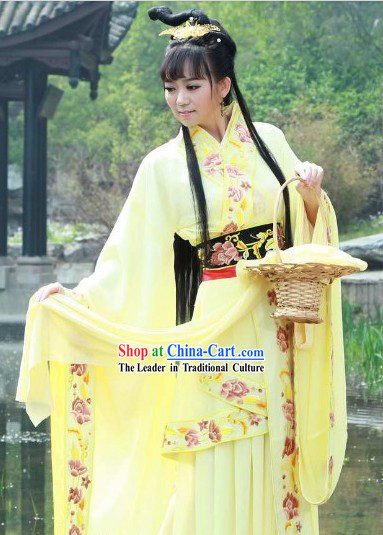 Yellow Tang Dynasty Romantic Lady Costumes