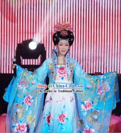 Embroidered Flowers Blue Empress Costumes and Wig for Women