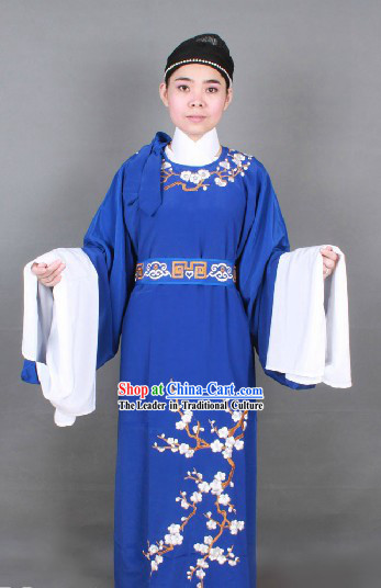 Ancient Chinese Opera Blue Young Men Costumes