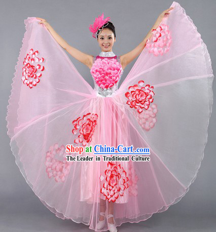 Large Peony Chinese Stage Performance Dance Costume for Women