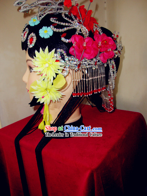 Traditional Chinese Dramatic Huadan Long Braids and Hair Accessories
