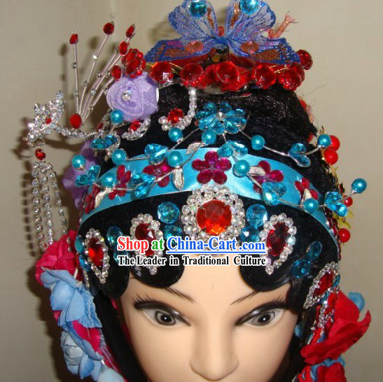 Traditional Chinese Dramatic Stage Performance Wig and Hair Accessories for Women