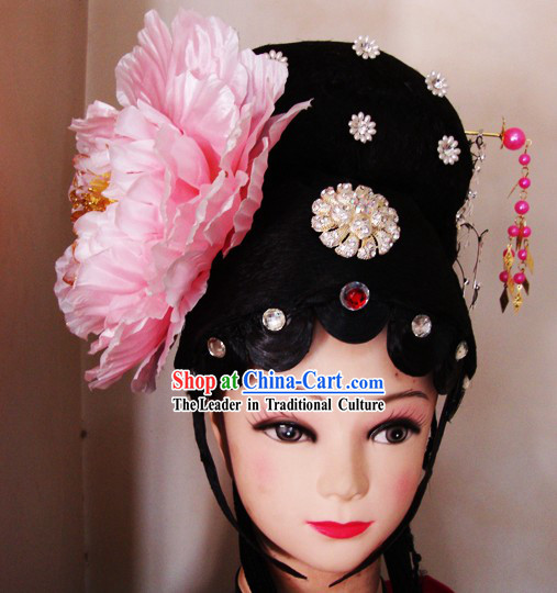 Traditional Chinese Peking Opera Wig and Headpiece Set