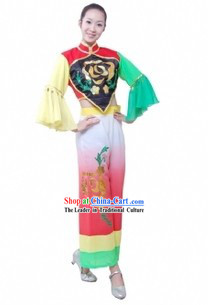 Chinese Han Ethnic Fan Dance Costumes for Women