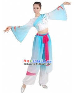 Chinese Han Ethnic Fan Dance Costume for Women
