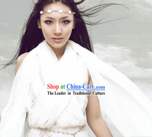 White Fairy Costume and Hair Accessories for Women