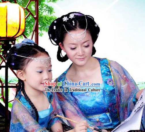 Ancient Chinese Tang Daughter and Mother Clothes Two Sets