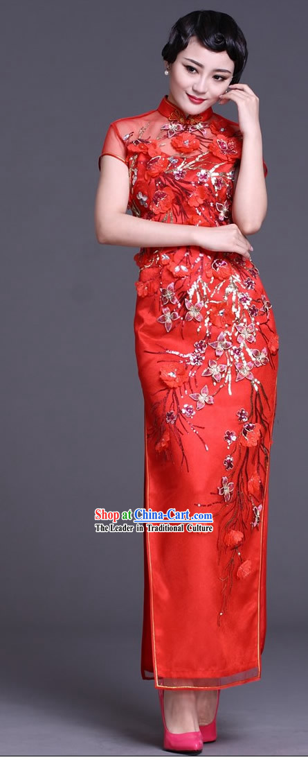 Chinese Classic Long Red Wedding Qipao for Brides
