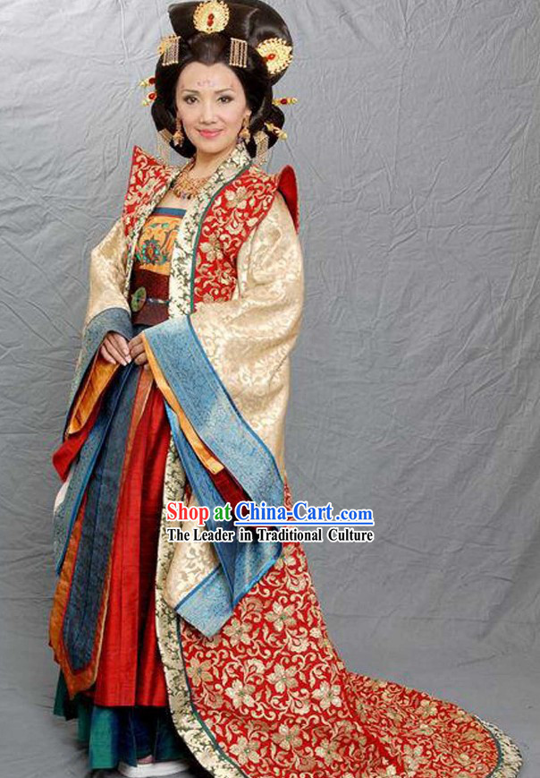 Ancient Chinese Queen Mother Clothing and Headpiece Complete Set
