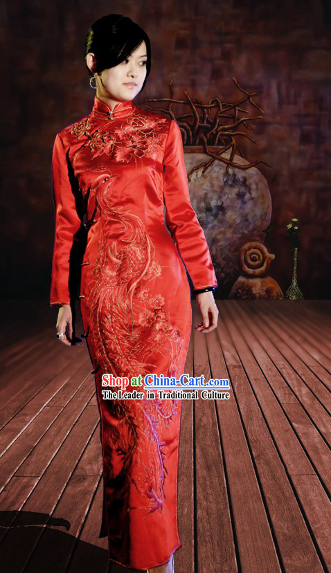 Classical Chinese Red Phoenix Qipao Clothing for Women