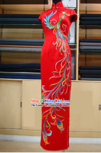 Lucky Red Chinese Embroidered Phoenix Wedding Qipao